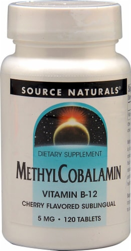 Source Naturals MethylCobalamin Vitamin B12 Cherry Lozenges 5mg Perspective: front