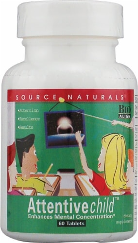 Source Naturals Attentive Child Tablets 60 Count Perspective: front