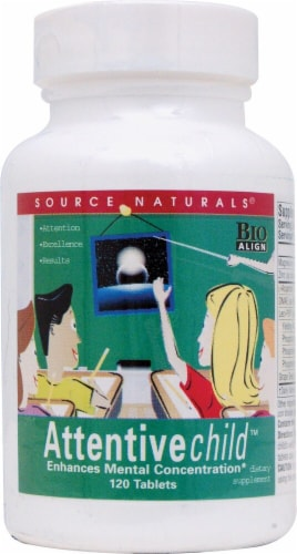 Source Naturals Attentive Child Tablets Perspective: front