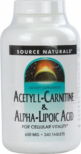 Source Naturals Acetyl L-Carnitine and Alpha-Lipoic Acid Tablets 650mg Perspective: front