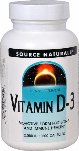 Source Naturals Vitamin D-3 Capsules 2000IU Perspective: front