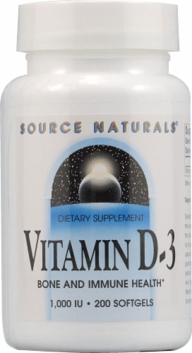 Source Naturals Vitamin D-3 Softgels 1000IU Perspective: front