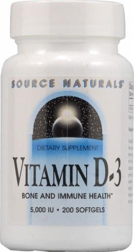 Source Naturals Vitamin D-3 Softgels 5000IU Perspective: front