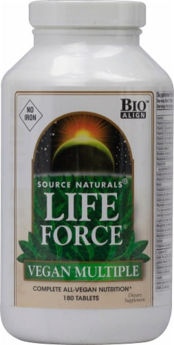 Source Naturals Life Force Vegan Multiple No Iron Tablets Perspective: front