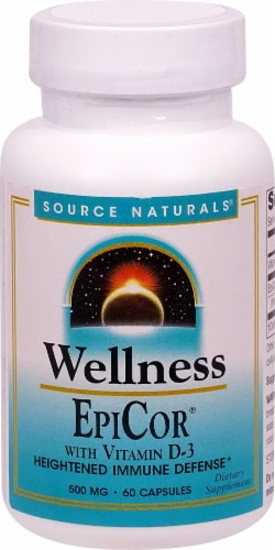 Source Naturals Wellness EpiCor with Vitamin D-3 Capsules 500mg Perspective: front