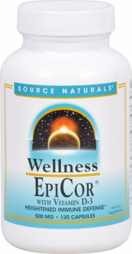 Source Naturals Wellness EpiCor wtih Vitamin D-3 Capsules 500mg Perspective: front