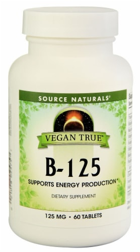 Source Naturals Vegan True B-125 Dietary Supplement Tablets 125mg Perspective: front