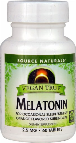 Source Naturals  Vegan True™ Melatonin   Orange Perspective: front