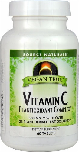 Source Naturals Vegan True Vitamin C Plantioxidant ComplexTablets Perspective: front