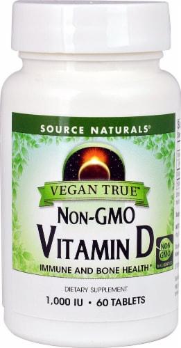 Source Naturals Vegan True Non-GMO Vitamin D Tablets 1000IU Perspective: front
