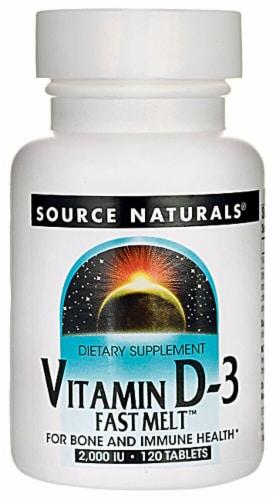 Source Naturals Vitamin D-3 Fast Melt Tablets 2000IU Perspective: front