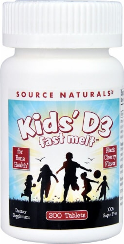 Source Naturals Kids' D3 Fast Melt Black Cherry Tablets Perspective: front