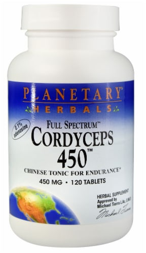 Planetary Herbals Full Spectrum™ Cordyceps 450™ Tablets Perspective: front