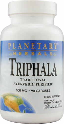 Planetary Herbals Triphala Capsules 500 mg Perspective: front