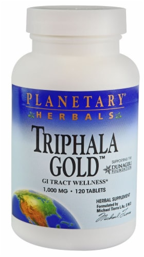 Planetary Herbals Triphala Gold Tablets 1000 mg Perspective: front