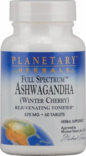 Planetary Herbals Full Spectrum™ Ashwagandha Tablets 570 mg Perspective: front