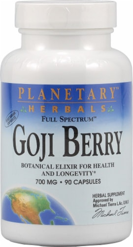 Planetary Herbals Goji Berry Capsules 700 mg Perspective: front
