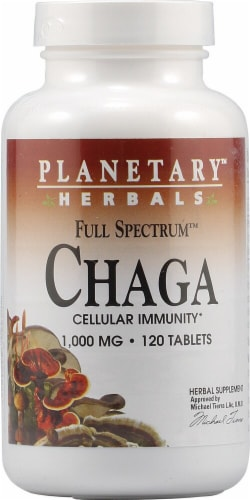 Planetary Herbals Full Spectrum Chaga Tablets 1000 mg Perspective: front