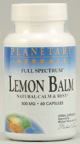 Planetary Herbals Full Spectrum™ Lemon Balm Capsules 500 mg Perspective: front