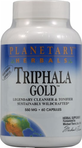 Planetary Herbals Triphala Gold Capsules 550 mg Perspective: front