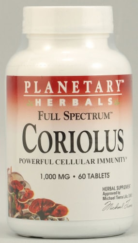Planetary Herbals Full Spectrum Coriolus Tablets 1000 mg Perspective: front