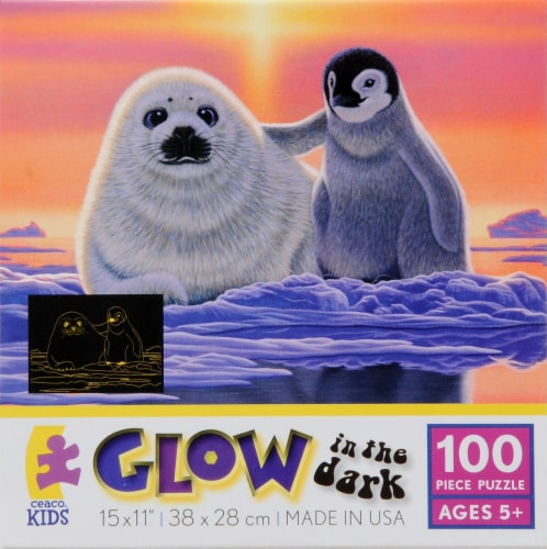 Ceaco Kids Glow in the Dark Penguin and Seal Puzzle Perspective: front