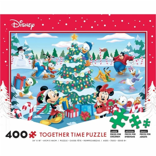 Ceaco Disney Together Time Christmas at The Skating Pond Jigsaw Puzzle, 400 Pieces Perspective: front