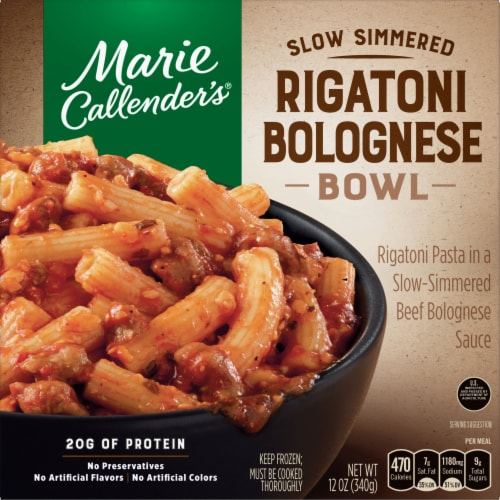 Marie Callender's Slow Simmered Rigatoni Bolognese Bowl Frozen Meal Perspective: front