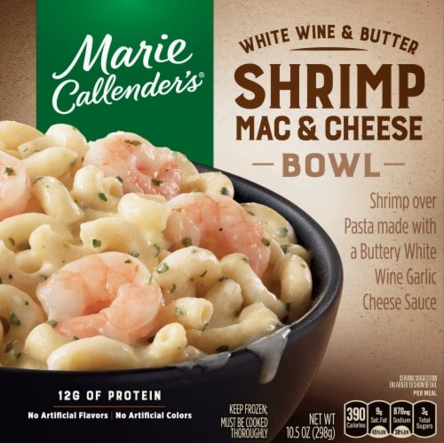 Marie Callender's White Wine and Butter Shrimp Mac & Cheese Bowl Frozen Meal Perspective: front