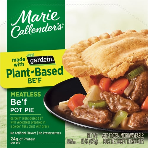 Marie Callender's Plant-Based Gardein Be'f Meatless Pot Pie Frozen Meal Perspective: front