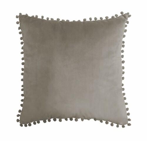Harper Lane Taupe Pompom Decorative Pillow Perspective: front