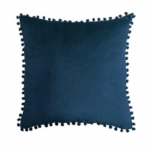 Harper Lane Navy PomPom Decorative Pillow Perspective: front