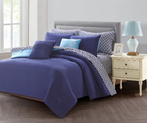 Harper Lane Blue Bed in a Bag Set - 9 Piece Perspective: front