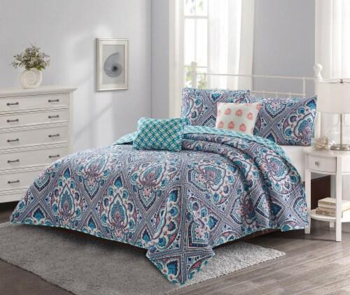 Harper Lane Blue & Coral Merriam 5 Piece Quilt Set Perspective: front