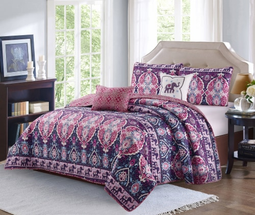 Harper Lane Blush & Purple Victoria 4 Piece Quilt Set Perspective: front