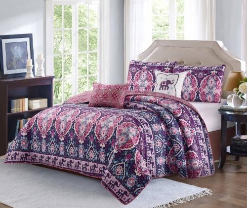 Harper Lane Blush & Purple Victoria 5 Piece Quilt Set Perspective: front