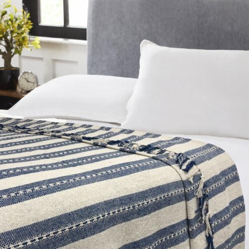 Harper Lane Blue & Beige Stripe Cotton Blanket Perspective: front