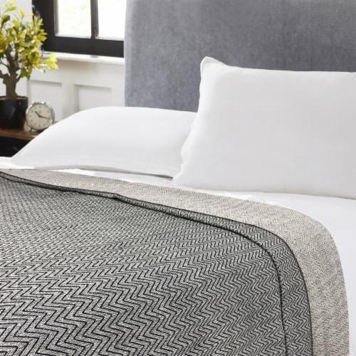 Harper Lane Black Chevron Cotton Blanket Perspective: front