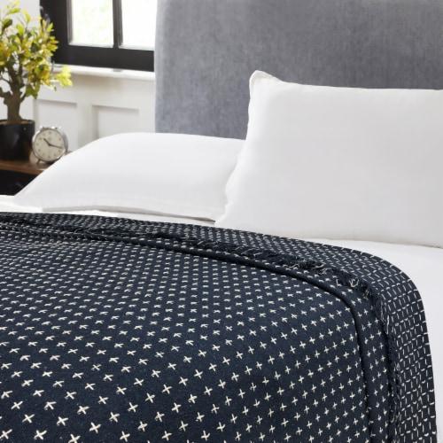 Harper Lane Dot Navy Blue Cotton Blanket Perspective: front