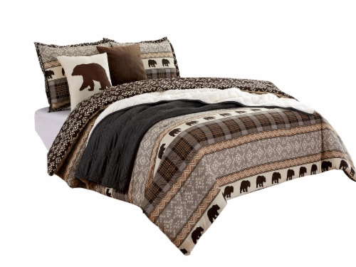 Harper Lane Grizzly Print Comforter Set - Brown Perspective: front