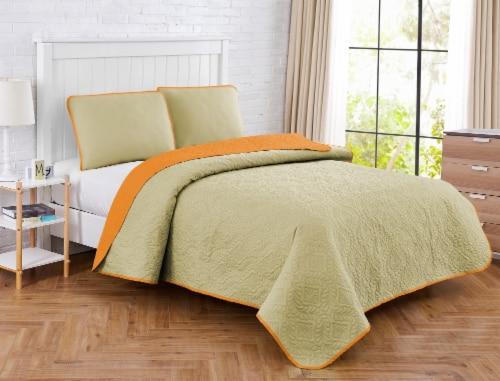 Harper Lane Solid Medallion Orange Reverse To Tan 3 Piece Quilt Set Perspective: front