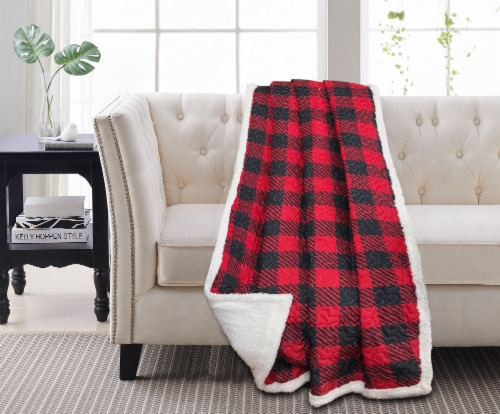 Harper Lane Red & Black Plaid Reverse To Sherpa Throw Perspective: front