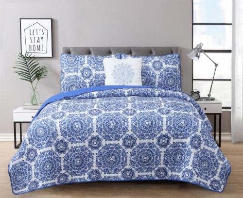 Harper Lane Briar Blue 3 Piece Quit Set Perspective: front