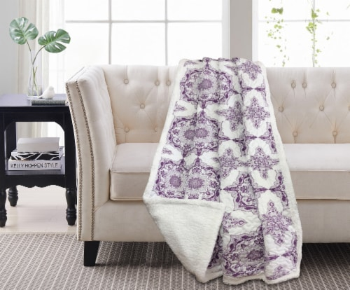 Harper Lane Dustin Purple Reverse To Sherpa Throw Perspective: front