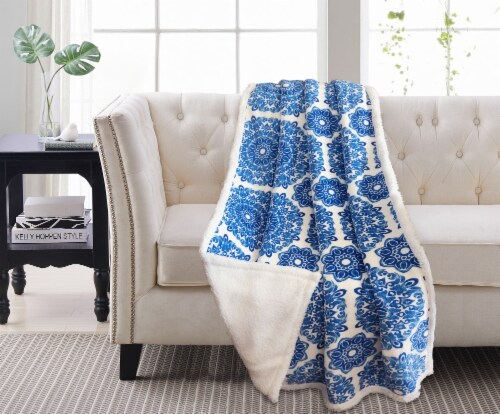 Harper Lane Briar Blue Reverse To Sherpa Throw Perspective: front