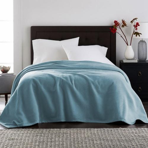 Harper Lane Mineral Blue Velvet Plush Blanket Perspective: front