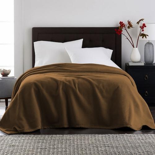 Harper Lane Brown Velvet Plush Blanket Perspective: front