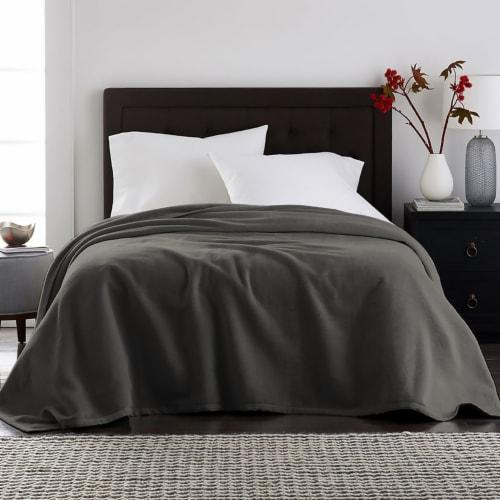 Harper Lane Charcoal Velvet Plush Blanket Perspective: front