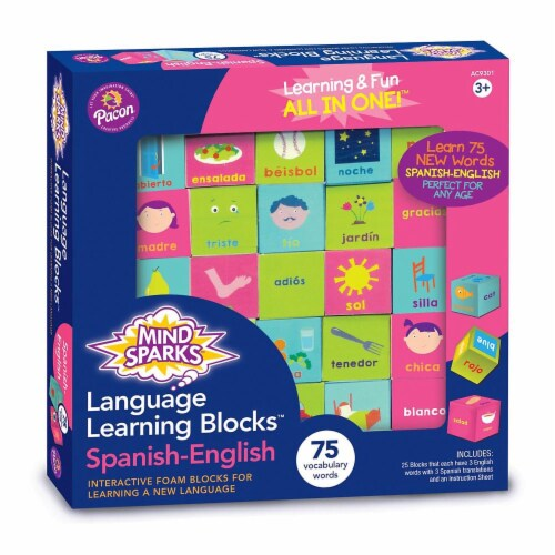 Mind Sparks  Language Learning Blocks with 1.5 in. Blocks & 25 Blocks - Spanish Perspective: front
