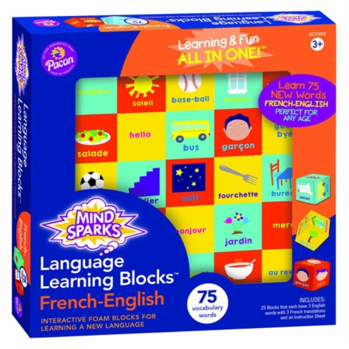 Mind Sparks 2023323 Language Learning Blocks - French Language with 1.5 in. Blocks & 25 Block Perspective: front